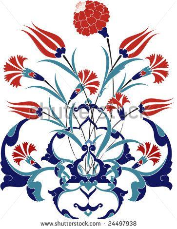 Traditional ottoman turkey turkish tulip tile design - stock vector