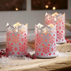 white pierced snowflake pillar candle sleeves by #PartyLite #Candles