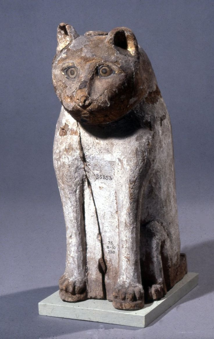 Cat mummycase, wood with a gilded head Egypt, ca. 30 BC