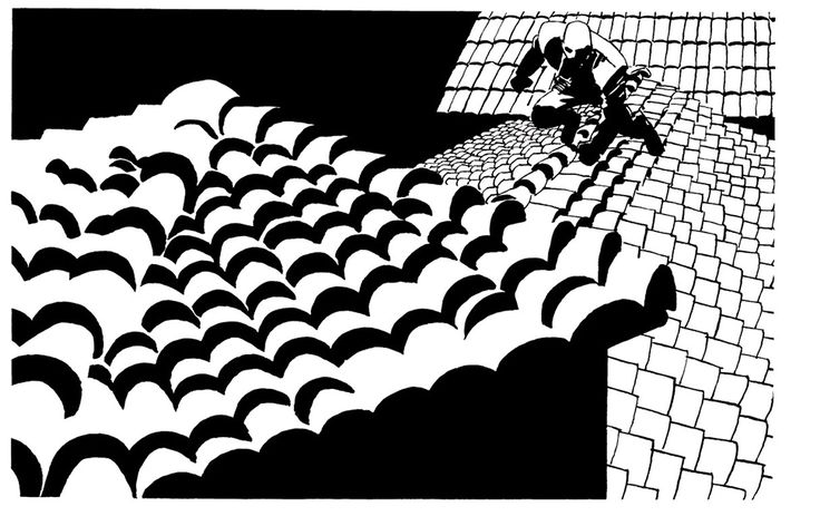 Sin City's houses are, with few exceptions, done in Mission Revival style. In addition to conveying his American West setting, the Mission Revival also allows him to make these beautiful little tiled rooftops. They're such a delightful mix of order and chaos, sequence and error, rows and imperfections. This panel doesn't let anything get in the way of his rooftop obsession.