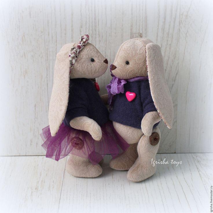 Купить Зайчата Love Story - пара зайцев, зайчата, текстильные зайцы, текстильная игрушка