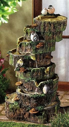 forest fantasy moss cover logs garden water fountain upcycled tree