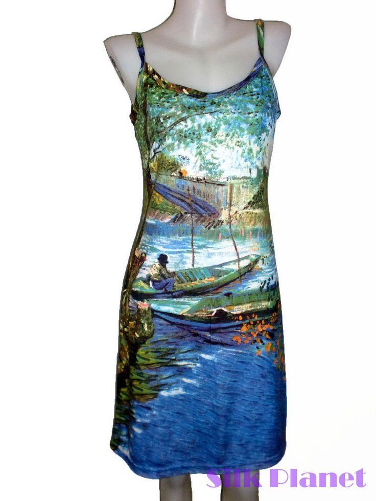 Vincent Van Gogh Fishing Boat River Fish Fine Art Print Dress Shirt Summer Sun