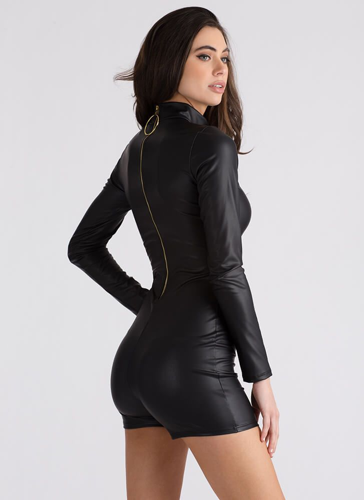 f2d6944a3e163e Ring Me Back Faux Leather Romper BLACK - GoJane.com