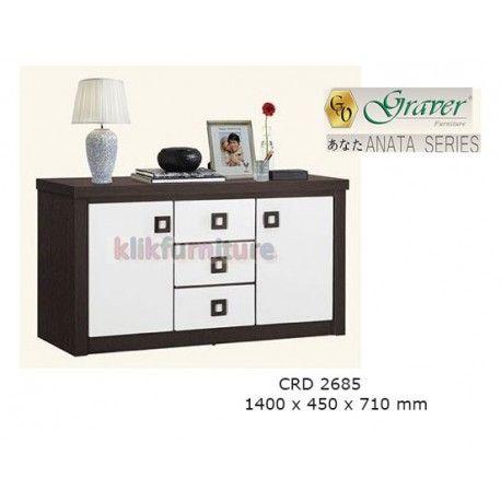 Harga CRD 2685 Graver Anata Condition:  New product  Meja Tv / Bufet Pendek ANATA Series Graver  bahan particle board ukuran 1400 x 450 x 710 mm