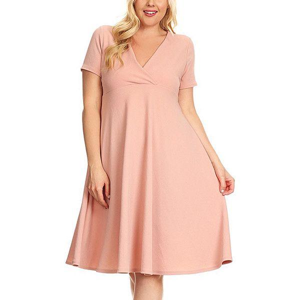 Nema Avenue Pink Surplice Dress ($23) ❤ liked on Polyvore featuring plus size women's fashion, plus size clothing, plus size dresses, plus size, long length dresses, plus size long dresses, pink day dress, plus size pink dresses and women plus size dresses