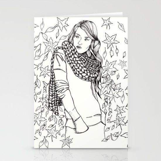 Set of folded stationery cards printed on bright white, smooth card stock to bring your personal artistic style to everyday correspondence.  Each card is blank on the inside and includes a soft white, European fold envelope for mailing.