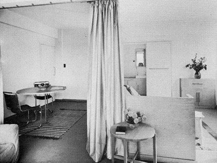 Interior of a studio flat in Lawn Road flats, Hampstead, north London, completed in 1934