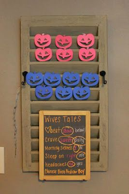 Simple Sarah: Wives tales board with pink and blue pumpkins for a fall/pumpkin gender reveal party!