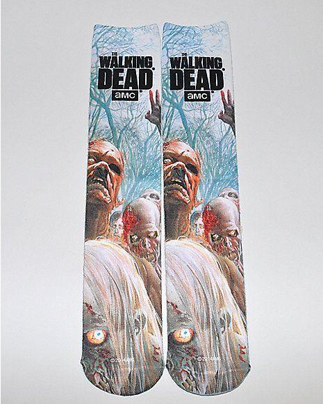 Sublimated Zombie Walking Dead Knee High Socks - Spencer's