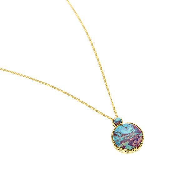 PUSHMATAAHA // Mini Nika Pendant / Blue Purple Turquoise with Gold Plate
