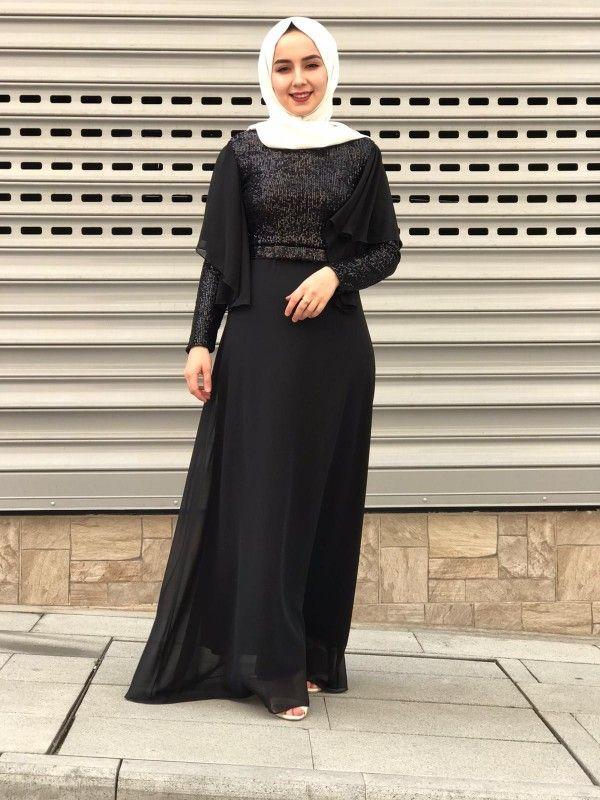Siyah Pul Payetli Kollari Tul Detayli Tesettur Abiye 2020 Afgan Elbiseler Giyim The Dress