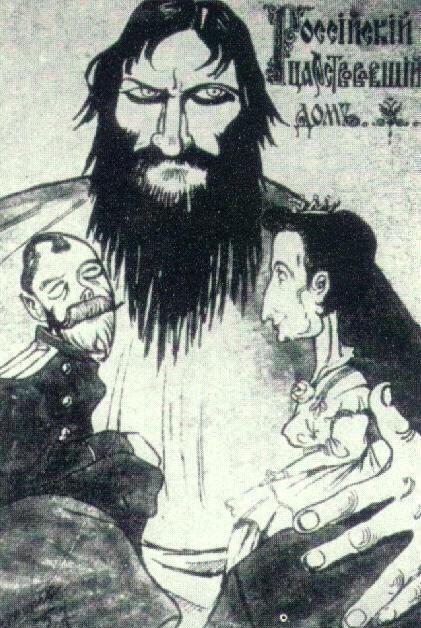 WWI russian propaganda - rasputin as puppet master