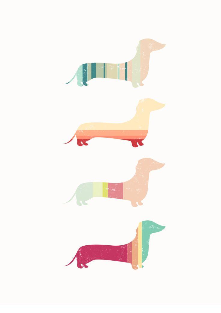 Stripy Sausage Dog Contemporary Art Print - A4 - Dachshund.