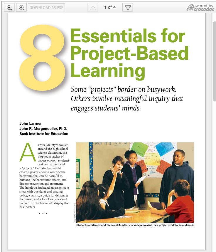 The 8 essential elements of Project Based Learning