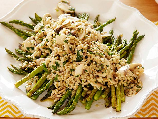 Mushroom Barley and Roasted Asparagus SaladFood Network, Side Dishes, Salad Recipes, Foodnetwork Com, Network Kitchens, Mushrooms Barley, Roasted Asparagus, Easy To Following Mushrooms, Asparagus Salad