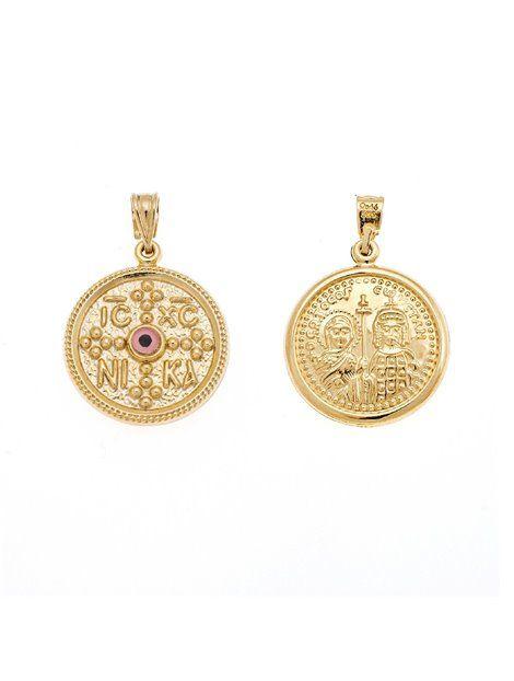 Κωνσταντινάτο Χρυσό 14Κ Αναφορά 013766 Ένα κωνσταντινάτο διπλής όψεως από Χρυσό 14Κ σε κίτρινο χρώμα.Το φυλακτό είναι στολισμένο με ένα ματάκι σε ροζ χρώμα και μπορεί να συνδυαστεί με αλυσίδα χρυσή 14Κ.