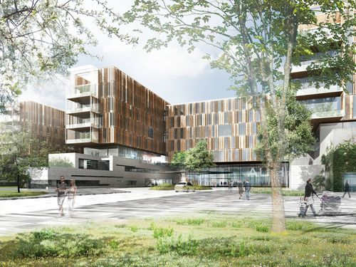 Arkitema, Narud Stokke Wiig, og Planlæggere, Grontmij Carl Bro, aart a/s, Hospitalitet, Moe & Brødsgaard — New University Hospital