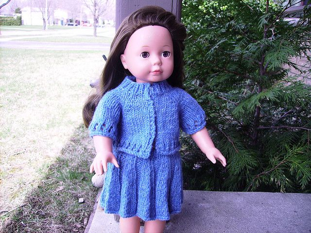 Knit cardigan sweater pattern for american girl dolls