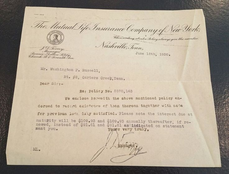 1930 letter from The Mutual Life Insurance Of New York to W.P. Russell Tennessee