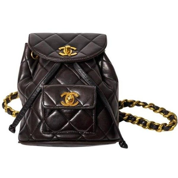 Chanel Vintage Black Quilted Lambskin Leather Mini Backpack Bag Liked On Polyvore Featuring Bags Backpacks Chanel Vintage Chanel Quilted Bag Flap Backpack