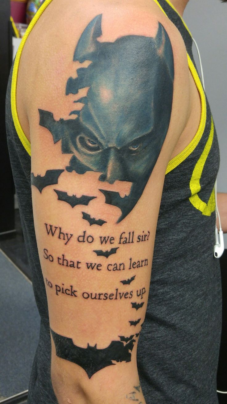 batman tattoo i did recently with script covering some self inflicted scars