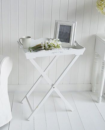 White Butler Tray Side Table For White Living Room Furniture