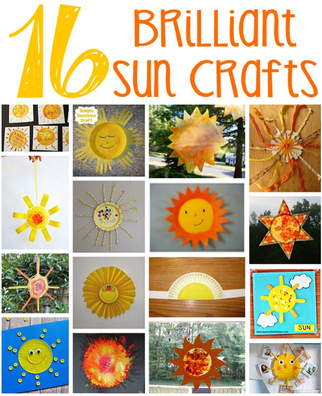 16 Sun Crafts for Kids - How about kicking off summer by making a sun craft or two!? (http://aboutfamilycrafts.com/16-sun-crafts-for-kids/)