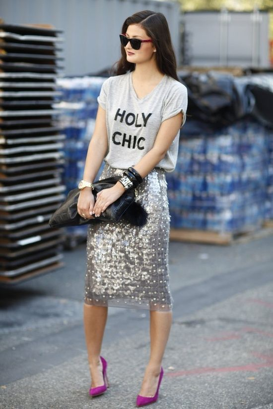 graphic tee + sparkly skirt + bright shoes