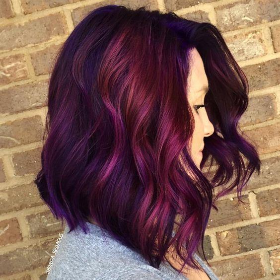 Gorgeous Red Purple Balayage Hair Style for Medium Hair