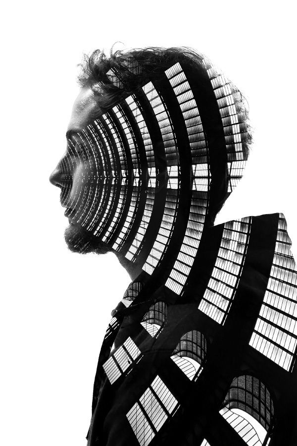Double Exposure Profiles of People in Milan Combined With Buildings