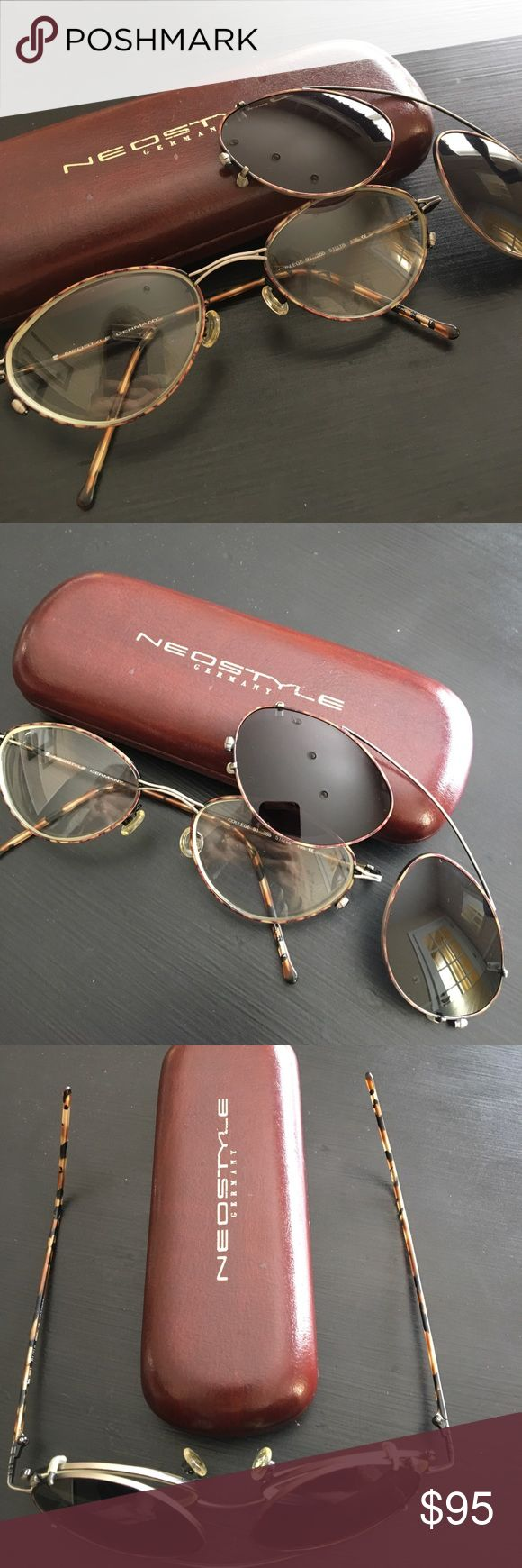 NEOSTYLE Germany wire-rim glasses & sunglass clip New condition. No scratches or signs of wear. Prescription lenses in the glasses but can easily be replaced with your lens by any ophthalmologist. Bonus original case included. Neostyle Accessories Glasses