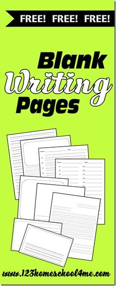 Free writing pages for preschool, kindergarten, first grade and older!