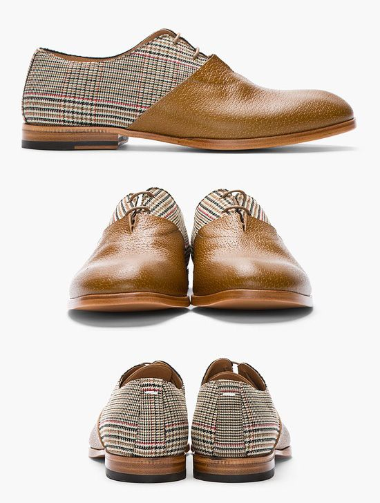 MAISON MARTIN MARGIELA //    Tan Leather & Prince of Wales Check Oxfords