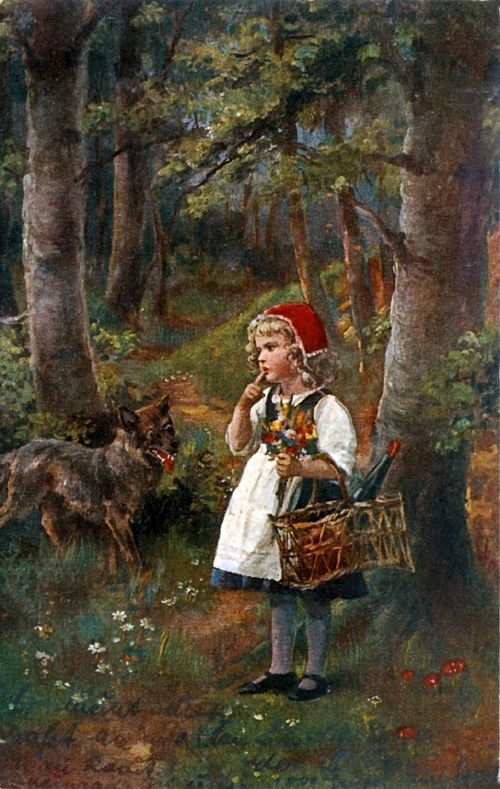 Little Red Riding Hood. The encounter-Russian Vintage Christmas Card