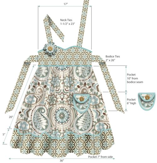 Empire Waist Apron in Waverly Fabrics. Free Pattern & Tutorial. by Sew4Home