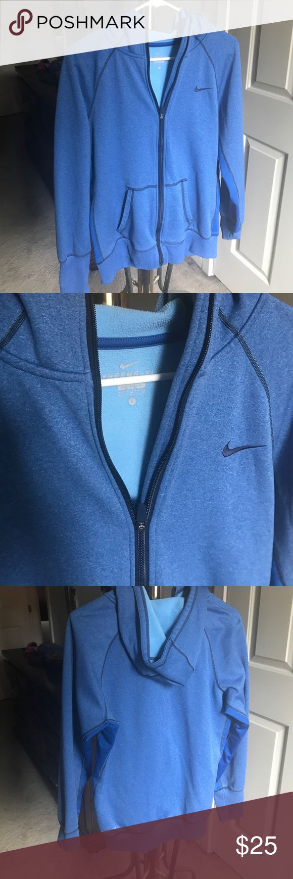 Nike DriFit Blue Zip up hoodie In great condition, blue therma fit Nike zip up hoodie, perfect for gym or fall days. Nike Jackets & Coats