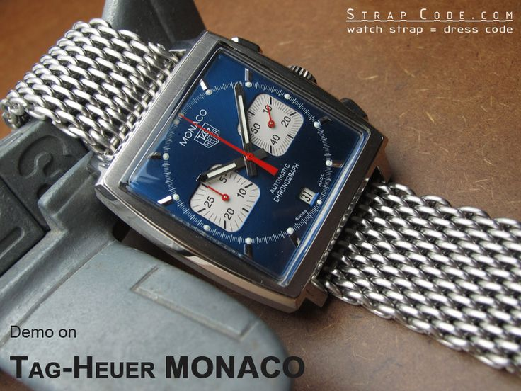 "TagHeuer MONACO on 22mm Ploprof 316 Reform Stainless Steel ""SHARK"" Mesh Watch Band Diver Strap P [DA222203B005P]"