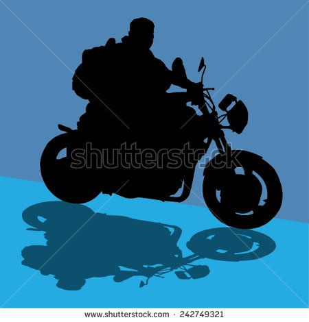 Vector image of a motorbike and rider silhouette with its shadow - stock vector  #art #background #bike #biker #black #custom #cycle #drive #engine #fast #slow #freedom #shutterstock #sponsormualla #shutterstock