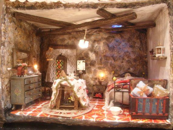 Escena de habitaci n r stica con iluminaci n por - Habitacion iluminacion ...