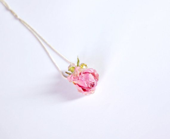 Organic jewelry pink real rose necklace Tiny by ArtOreCrafts