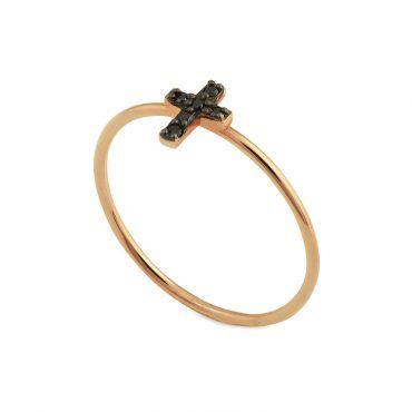 Μοντέρνο λεπτό δαχτυλίδι Κ18 από ροζ χρυσό σταυρός πάνω σε μία βέρα με 6 μαύρα διαμάντια και μαύρο πλατίνωμα | Μονόπετρα ΤΣΑΛΔΑΡΗΣ στο Χαλάνδρι #δαχτυλιδι #διαμαντια #πλατινωμα