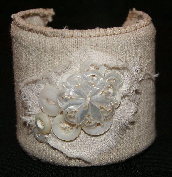 Fabric Cuff Vintage Bracelet Tattered Cuff Romantic by funkologie, $30.00