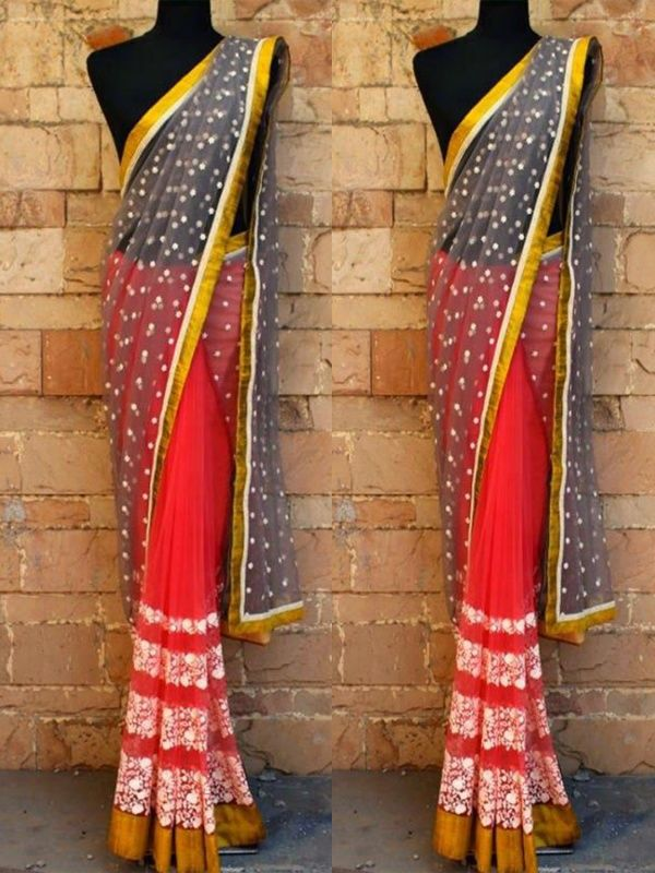 Satisfyingstar White Peach Net Georgette Designer Saree comes with Matching Color Blouse. It contained the Zari, Embroidery work with lace border. The Blouse can be customized up to bust size 44