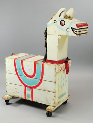 "Circa 1950's horse shaped toy box named ""Silver""."