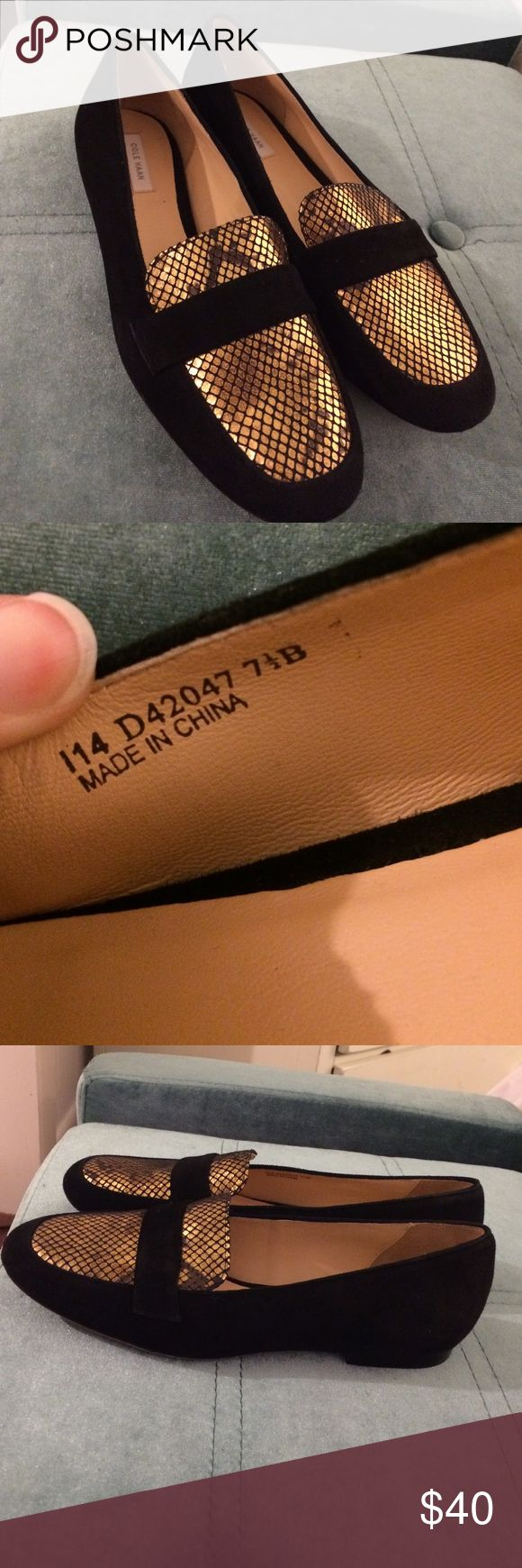 Cole Haan Black Suede and Gold Loafer Flats Sz 7.5 Never worn! Some discoloration in bottom from being tried on in store, marks from store on bottom otherwise excellent! Size 7.5 Cole Haan Shoes Flats & Loafers