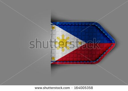 Flag of Philippines in the form of a glossy textured label or bookmark. Vector illustration.