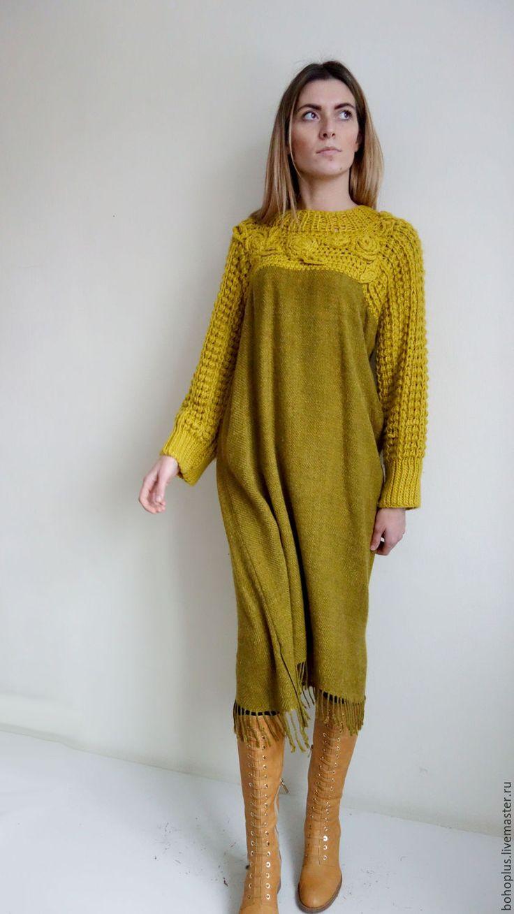 """Купить Платье-туника """"Горчица и мед"""" - оливковый, однотонный, горчичный, горчичный цвет, платье"""