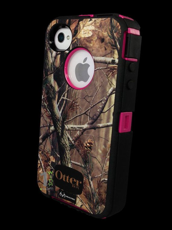 Custom Otterbox Defender Series Case for iPhone 4S AP Camo/Pink