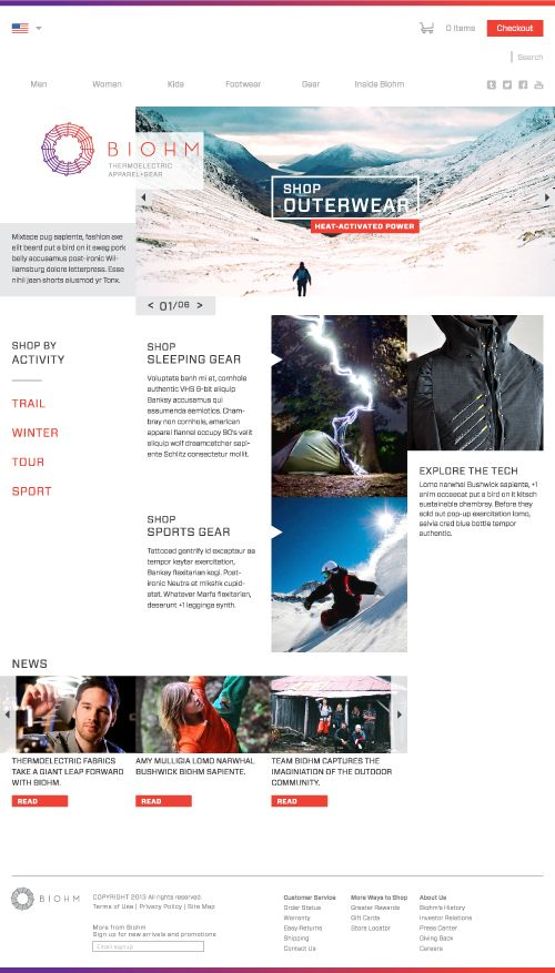 website web design ui ux one page one page magazine blog visual style active clothing